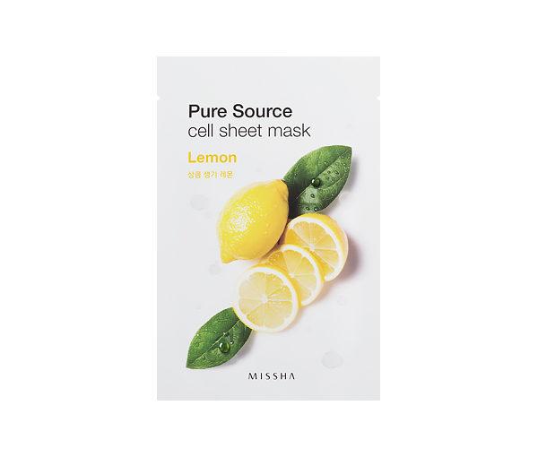 Cytrynowa maseczka rozświetlająca MISSHA-Pure-Source-Cell-Sheet-Mask-Lemon