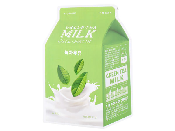 maseczka z zieloną herbatą a'pieu green tea milk one pack