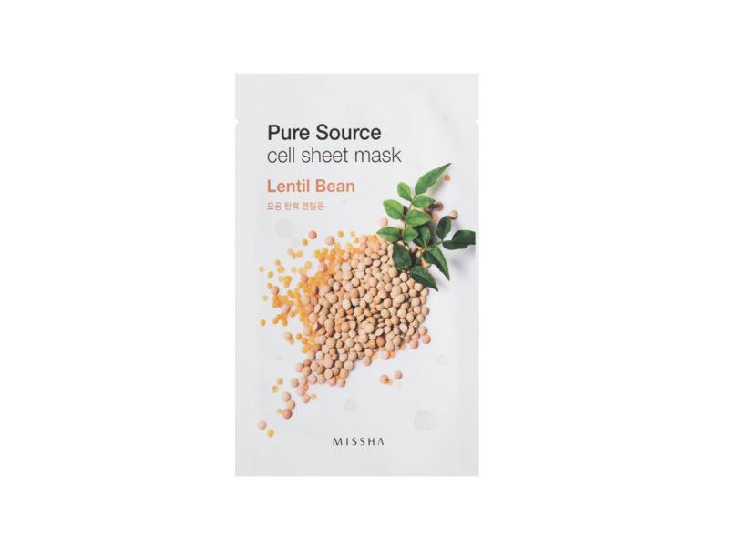 Maseczka odświeżająco wygładzająca - Missha Pure Source Cell Sheet Mask Lentils